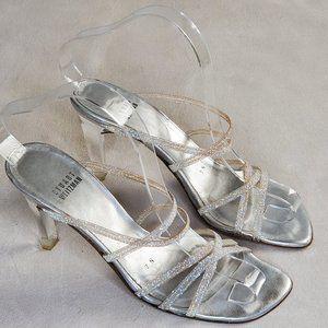 Stuart Weiztman Iced Glitter Strappy Heels 7N GUC